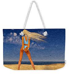 Girl On The Beach...watercolor Effected Weekender Tote Bag