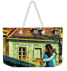 Weekender Tote Bag featuring the painting Girl Posing On Stone Wall by Jeff Kolker