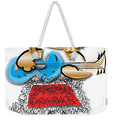 Weekender Tote Bag featuring the digital art Girl Rocker 6 String Guitar by Marvin Blaine