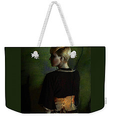 Girl With Green Background Weekender Tote Bag