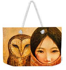 Girl With Owl Weekender Tote Bag