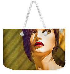 Girl With The Blue Dress On Weekender Tote Bag