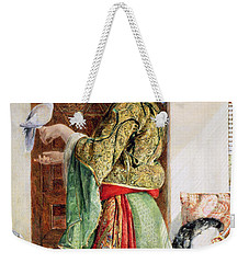 Girl With Two Caged Doves, Cairo, 1864 Weekender Tote Bag by John Frederick Lewis