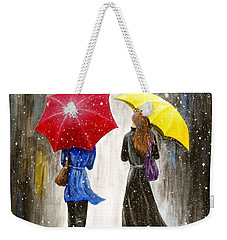 Weekender Tote Bag featuring the painting Girlfriends by Kume Bryant