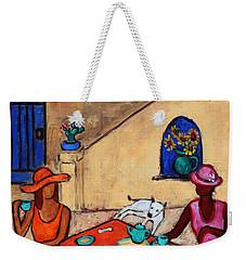 Weekender Tote Bag featuring the painting Girlfriends' Teatime II by Xueling Zou