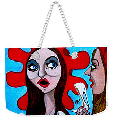 Weekender Tote Bag featuring the painting Countrygirls Amazed By A Pair Of Stilettos by Don Pedro De Gracia