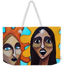 Weekender Tote Bag featuring the painting Girls Caught In Fraganti by Don Pedro De Gracia