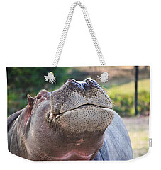 Weekender Tote Bag featuring the photograph Give Me A Kiss Hippo by Eti Reid