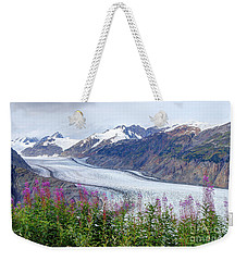 Glacier With Fireweeds Weekender Tote Bag by Stanza Widen