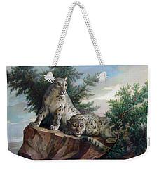 Glamorous Friendship- Snow Leopards Weekender Tote Bag