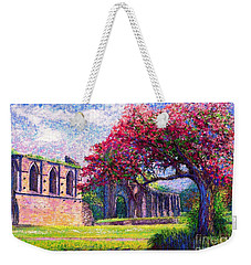 Weekender Tote Bag featuring the painting Glastonbury Abbey Blossom by Jane Small