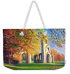 Weekender Tote Bag featuring the painting Glastonbury Abbey Fall by Jane Small
