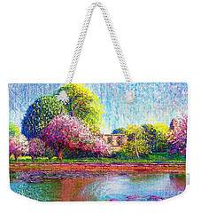 Weekender Tote Bag featuring the painting Glastonbury Abbey Lily Pool by Jane Small