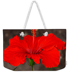 Glowing Red Hibiscus Weekender Tote Bag
