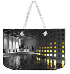 Weekender Tote Bag featuring the photograph Glowing Wall Color Spash Black And White by Shawn O'Brien