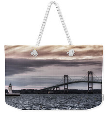 Goat Island Lighthouse And Newport Bridge Weekender Tote Bag by Joan Carroll