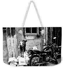 Goatercycle Black And White Weekender Tote Bag