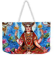 Weekender Tote Bag featuring the painting Goddess Lakshmi by Harsh Malik