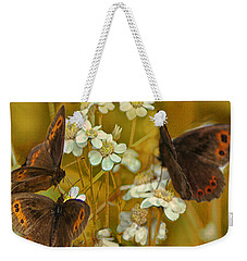 Weekender Tote Bag featuring the photograph Gold And Brown by Jacqi Elmslie