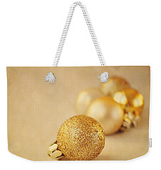 Gold Glittery Christmas Baubles Weekender Tote Bag