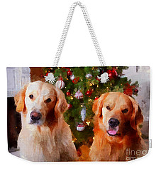 Golden Christmas Weekender Tote Bag by Claire Bull