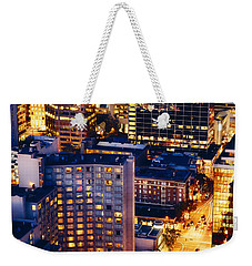 Weekender Tote Bag featuring the photograph Golden Cityscape Vancouver Mcccl by Amyn Nasser
