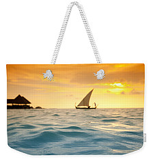 Golden Dhoni Sunset Weekender Tote Bag by Sean Davey
