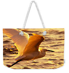 Golden Egret Bird Nature Fine Photography Yellow Orange Print  Weekender Tote Bag by Jerry Cowart