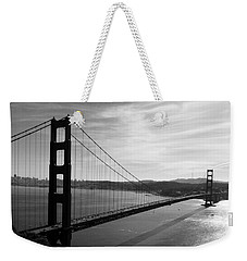 Weekender Tote Bag featuring the photograph Golden Gate Bridge In Black And White by Frank Bright