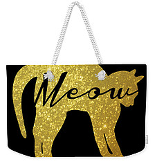 Golden Glitter Cat - Meow Weekender Tote Bag by Pati Photography