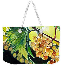 Weekender Tote Bag featuring the painting Golden Grapes by Julie Brugh Riffey