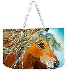 Weekender Tote Bag featuring the painting Golden Horse by Jenny Lee