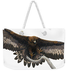 Weekender Tote Bag featuring the painting Golden Landing by Pat Erickson