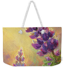 Golden Light 2 Wilsons Warbler And Lupine Weekender Tote Bag by Karen Whitworth