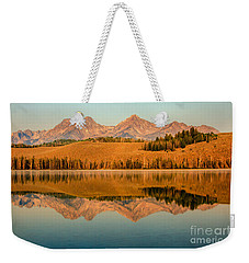 Golden Mountains  Reflection Weekender Tote Bag by Robert Bales