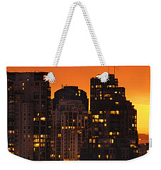 Weekender Tote Bag featuring the photograph Golden Orange Cityscape Dccc by Amyn Nasser