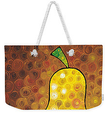 Weekender Tote Bag featuring the painting Golden Pear by Sharon Cummings