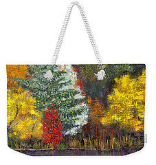 Weekender Tote Bag featuring the painting Autumn Tapestry by Margaret Bobb
