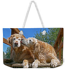 Golden Retriever Dogs The Kiss Weekender Tote Bag by Jennie Marie Schell