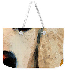 Weekender Tote Bag featuring the painting Golden Retriever Half Face By Sharon Cummings by Sharon Cummings