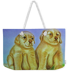 Weekender Tote Bag featuring the painting Golden Retriever by Thomas J Herring