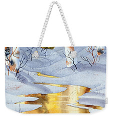 Golden Winter Weekender Tote Bag