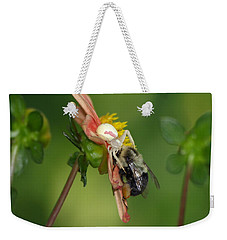 Weekender Tote Bag featuring the photograph Goldenrod Spider by James Peterson