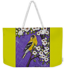 Goldfinch In Pear Blossoms Weekender Tote Bag