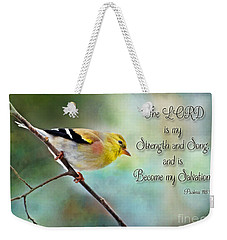 Goldfinch With Rosy Shoulder - Digital Paint And Verse Weekender Tote Bag by Debbie Portwood