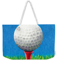 Weekender Tote Bag featuring the drawing Golf Ball And Tee by Janice Dunbar