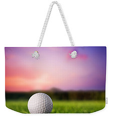 Golf Ball On Tee At Sunset Weekender Tote Bag