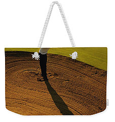 Golfer Taking A Swing From A Golf Bunker Weekender Tote Bag