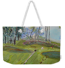 Weekender Tote Bag featuring the painting Golfing At Monarch by Maria Langgle
