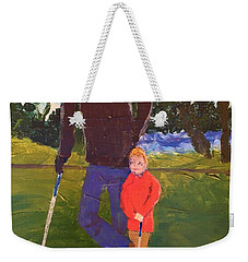 Weekender Tote Bag featuring the painting Golfing by Donald J Ryker III